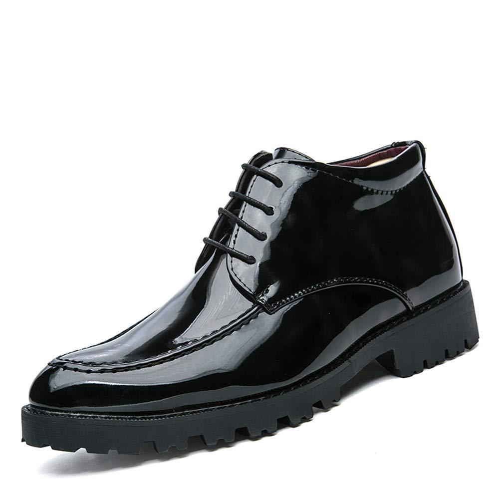 Fuxitoggo Herren Business Oxford Casual britischen Lackleder Martin Stiefel mit Plüsch warme hohe Hilfe Formale Schuhe (Farbe   Blau, Größe   43 EU) (Farbe   Schwarz, Größe   40 EU)