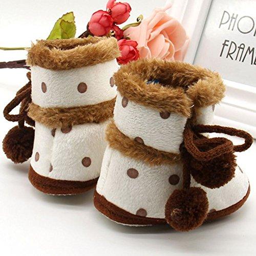 ESHOO Toddler Bebé Botines de Nieve en invierno suave Sole Casual Cálido Para Cuna zapatos flecos marrón Brown 1 Talla:6-12 meses Brown 1