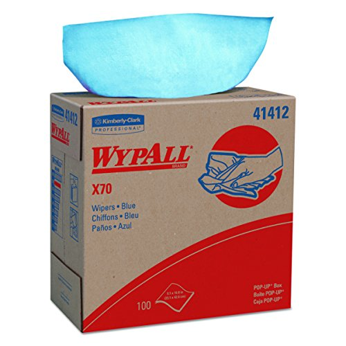 WypAll X70 Extended Use Reusable Wipers (41412), Pop-Up Box, Long Lasting Performance, Blue, 1 Boxes, 100 Sheets by Kimberly-Clark Professional