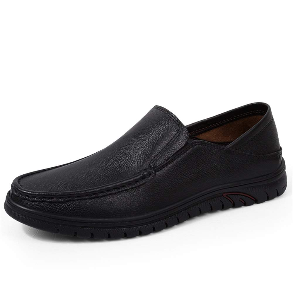 Black 2019 Men's Loafers Flats Men Loafers shoes Casual Perforated Driving Moccasin For Men Round Toe Genuine Leather Slip-on Loafers Soft shoes Rubber Outsole (color   Black perforated, Size   8 UK)