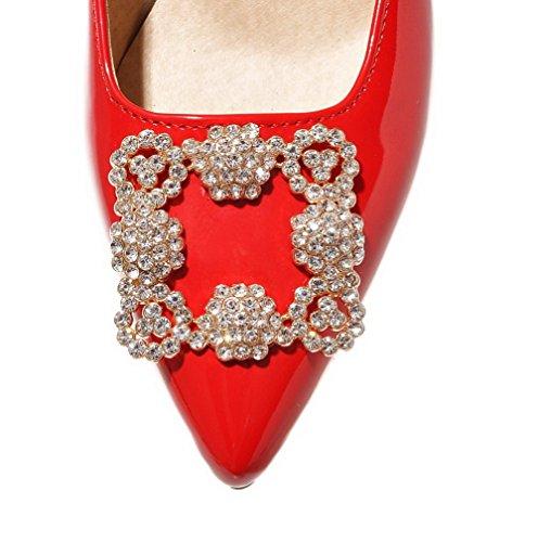 AllhqFashion Damen Ziehen auf PU Leder Spitz Zehe Mittler Absatz Eingelegt Pumps Schuhe Rot