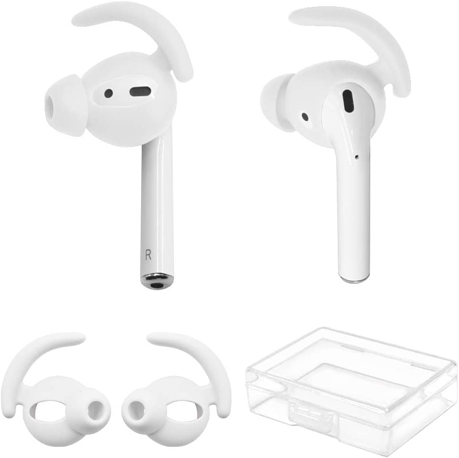 YINVA Ear Hooks for AirPods [Added Storage Box] EarPods Accessories Compatible with Apple AirPods 1 & AirPods 2 Ear Tips (White)