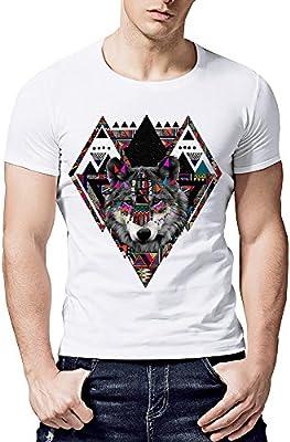 Hombre camiseta T-shirt manga corta,Sonnena ❤ Camiseta casual para hombre Impresión geométrica del lobo Camiseta blanca de manga corta con cuello en O ...