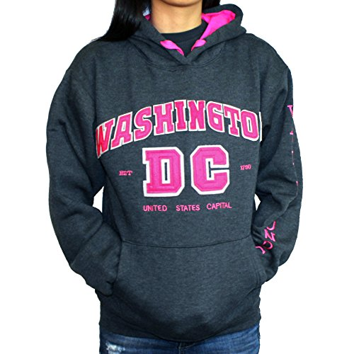 Washington DC Women's Gray with Pink Letters Hoodie (Small, Without Zipper) (Hoodie Dc Pink)