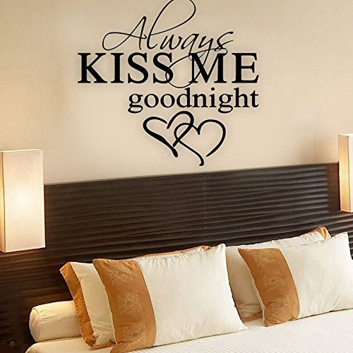 (Home Décor Wall Sticker Quote Always Kiss Me Goodnight Love Bedroom Home Décor)