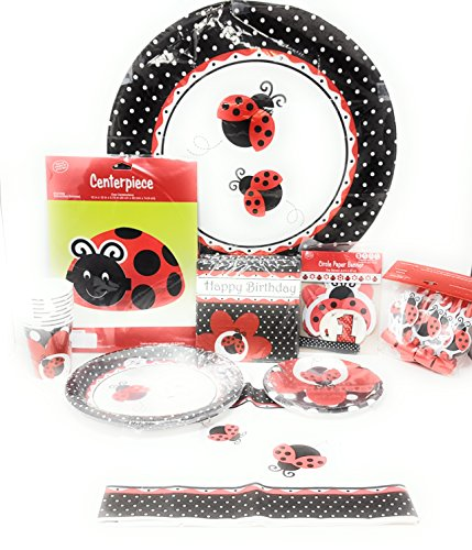 Ladybug Fancy Kids Birthday Dinnerware/Decorations Combo Pack 10-Piece Bundle, Serves 8 (Plates/Napkins/Cups/Tablecloth/Centerpiece/Favors/Decorations)