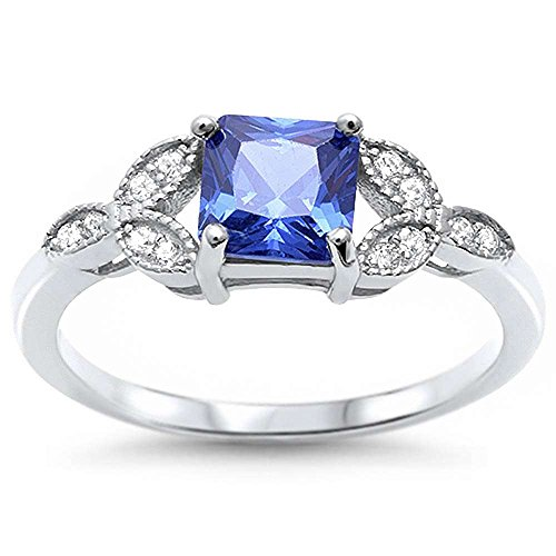 (Sterling Silver Princess Cut Simulated Tanzanite & Pave Cubic Zirconia Ring Sizes 6)