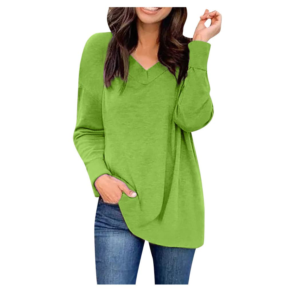 Winsummer Womens Plus Size Tops Solid Color V Neck Tunic Tops Casual Long Sleeve Tee Shirts Tunics Blouse