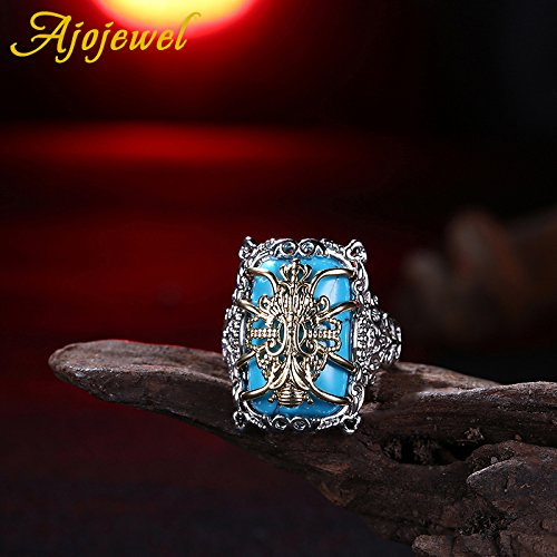 Slyq Jewelry Large Natural Stone Blue Luxury Ring sterling silver engagement ring rings for women fashion