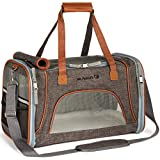 Mr. Peanut's Airline Approved Soft Sided Pet Carrier, Low Profile Travel Tote with Fleece Bedding, Premium Zippers & Safety Clasps, Under Seat Compatibility, Perfect for Cats and Small Dogs