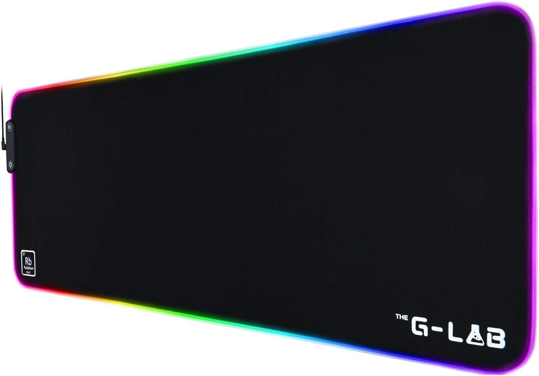 THE G-LAB Pad RUBIDIUM - Alfombrilla de Ratón RGB - Alfombrilla de Ratón Gaming XXL, Retroiluminación LED, Resistente al Agua, Tela de Alta Precisión, ...