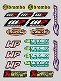 X 20 Pegatinas Stickers Sponsor MOTOREX WP AKRAPOVIC IMPRESIÓN Laminado Protector (20 Pegatinas)