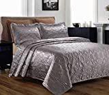 3 Piece Silky Satin Quilted Bedspread Coverlet Set Gray/King size