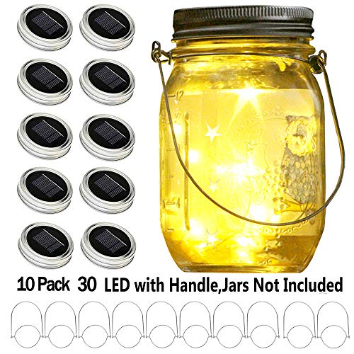 YITING Upgraded Solar Mason Jar Lid Lights, 10 Pack 30 LED Fairy Star Firefly String Lids Lights Including (10 pcs Hangers and 6 pcs PVC),for Wedding Patio Garden Party Decorations (No Jars)]()