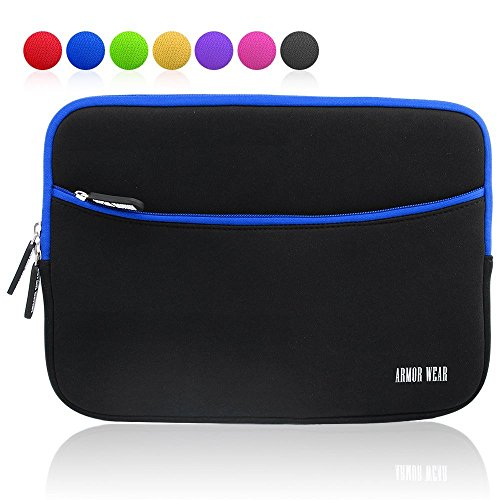 Armor Wear Padded Neoprene Zipper Carrying Sleeve with Accessory Pocket for 8 Inch Tablet - Black/Blue (7 Inch Tablet Sleeve)