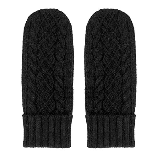MATSU Women Lady's Wool Knit Mitten Winter Warm Gloves Hand Warmer GCG202 (One Size, Black)