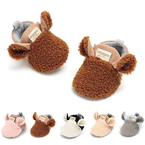 Baby Infant Boys Girls Boots Cute Animals Anti-Skid Warm Winter House Slippers Prewalker Crib First Walker Shoes(11cm(0-8 Months),A-Brown)