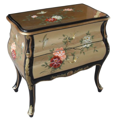 "30"" Wide Oriental Bombe Chest of Drawer Hand Painted Chin..."