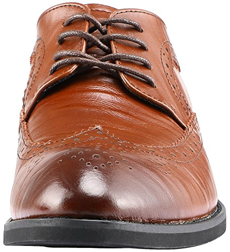 SKOEX Mens Brogue Oxford Wing-Tip Lace Up Dress Shoes Brown 8EYkNSX5PN