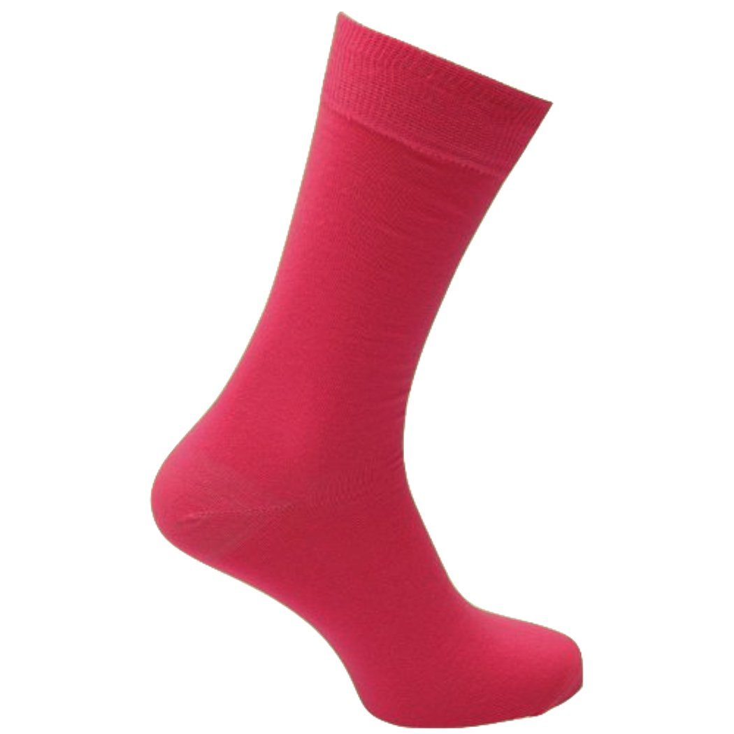Fine Fit Mens Fancy Solid Color Cotton Socks (3 Pairs) (Solid Pink)