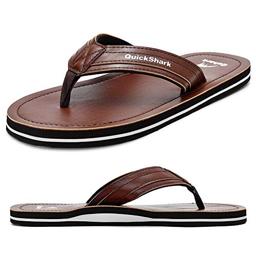 - Quickshark Mens Flip Flops Leather Arch Support Leather Thong Sandals Beach Slippers Brown/White Size 13