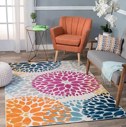 Modern Floral Circles Design Area Rug 7 6 x 9 5 Multi