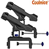 Fishing Rod Holders for Boats 2 Pack with Large Clamp Opening 360 Degree Adjustable Fish Pole Racks Folding Holder