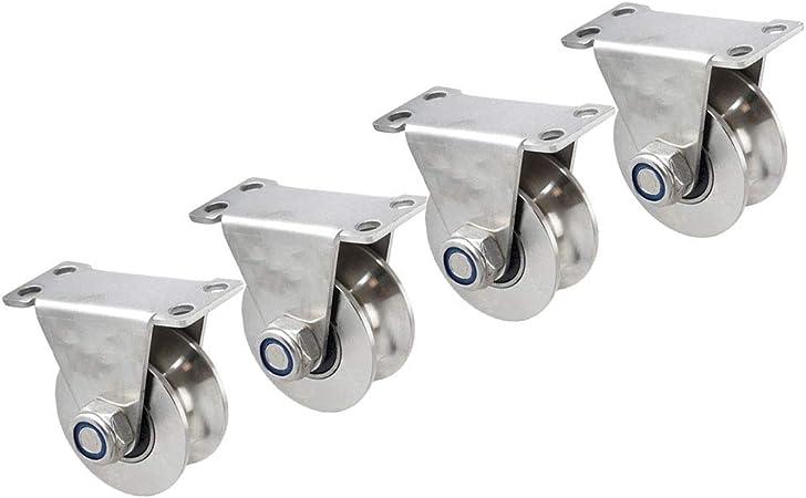 DGXQ 48mm Ruedas,con Rodamiento de Bolas,para Puertas Correderas, Orugas, con Placa de Fijación,Metal, Plástico,Resistentes,Capacidad de Carga Máxima 1200lb,4-Pack: Amazon.es: Hogar