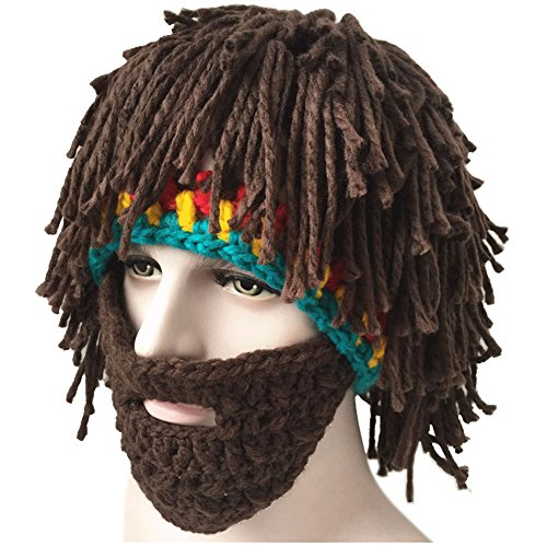 Creative Winter Hat with Knitting Wool Hair and Beards -