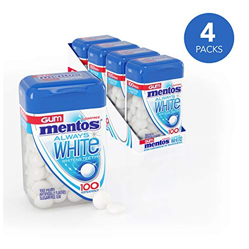 Mentos Always White Sugar-Free Chewing Gum with Xylitol, Peppermint, 100 Piece Bottle (Pack of 4)