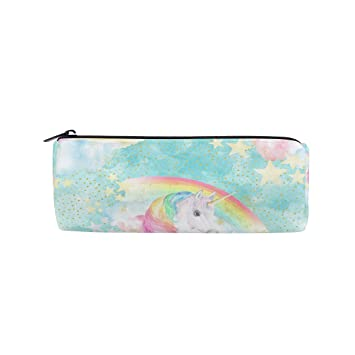 BENNIGIRY Rainbow Unicorn On Blue Estampado Cilindro Estuche ...