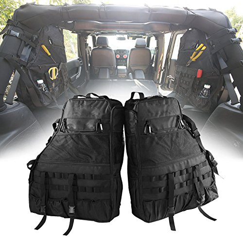 Danti Roll Bar Storage Bag Cage with Multi-Pockets & Organizers & Cargo Bag Saddlebag Tool Kits Bottle Drink Phone Tissue Gadget Holder for Jeep Wrangler JK 4-Door 2007~2017 (Saddlebag Tool Kit)