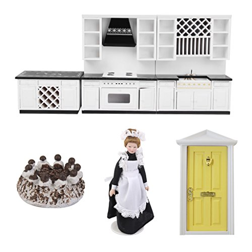 Prettyia 1/12 Scale Wood Kitchen Cabinet Porcelain Victorian People Doll for Dollhouse Room (Victorian Wood Cabinet)