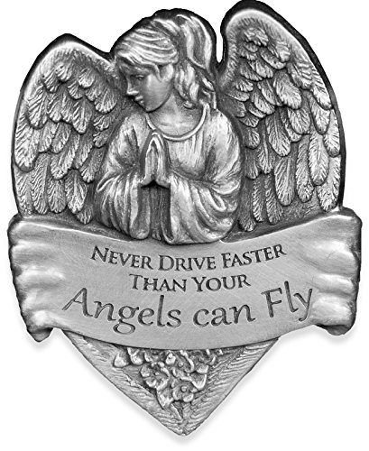 Angelstar 15731 Metal Visor Clip, 2-1/2-Inch, Never Drive Faster Than Your Angel Can Fly (Religious Accessories)