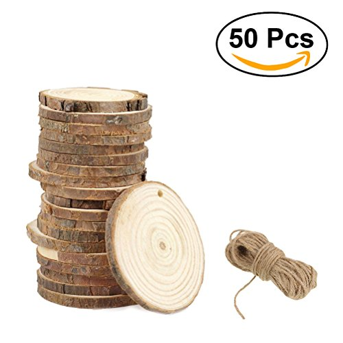 ULTNICE Wood Log Slices Round Log Discs Unfinished Predrilled Wood Pieces DIY Craft 3-4CM with Jute Twine Pack of 50