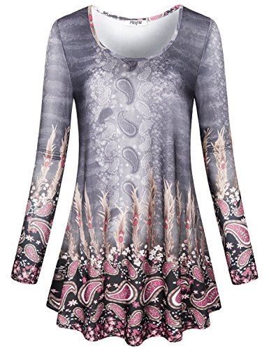 Ladies Long Sleeve Tunic - Hibelle Long Tunic Tops for Women, Ladies Round Neck A Line High Waist Flare Shirt Printed Pattern Curve Hem Jersey Knit Cozy Flattering Thin Tunics to Wear with Leggings Grey Medium