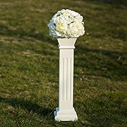 "Cloud Mountain Roman Venetian Decoration Wedding Ceremonies Stage Props Column Holds Flower Plates Pillars 26"" Tall, White"