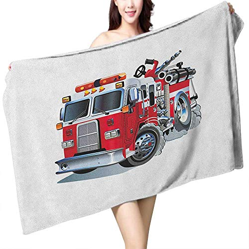 (Absorbent Towel Truck Fire Brigade Vehicle Emergency Aid for Public Firefighter Transportation Themed Lorry W28 xL55 Suitable for bathrooms, Beaches, Parties )