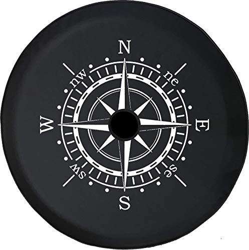 Pike Outdoors JL Series Spare Tire Cover Backup Camera Hole Compass Sun Dial Black 32 in (Compass Tire Jeep Spare Cover)