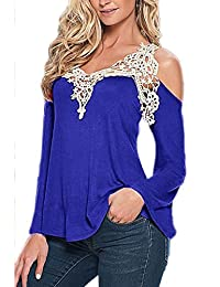 YACUN Women's Summer Lace Cold Shoulder Long Sleeve T-shirt