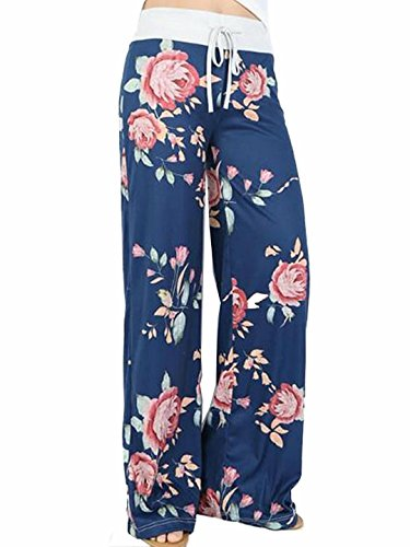 Sexymee Womens Pajama Comfy Chic Floral Print Lounge Drawstring Palazzo Long Wide Leg Pants,Blue 1,X-Large - Sweatpants Fashion