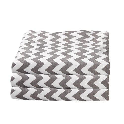 bkb Daycare 6 Piece Chevron Fitted Crib and Toddler Sheets, Grey
