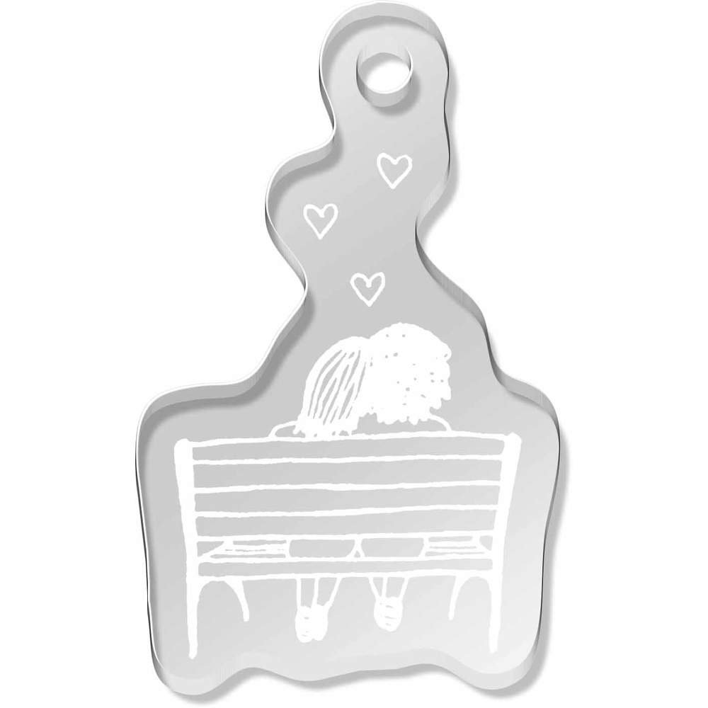 'Couple On A Bench' Shaped Engraved Keyring (AK00030497)