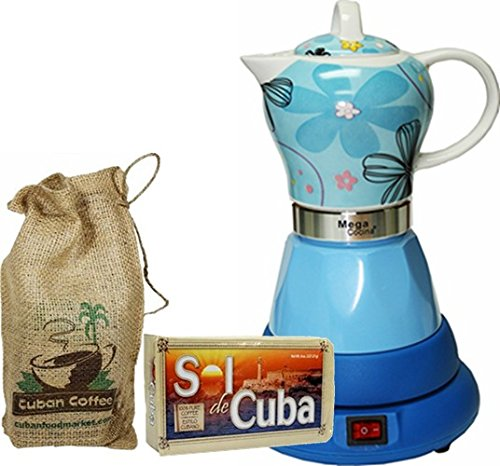 Electric Cordless Espresso Cuban Coffee Maker 4 Cups Color BLUE Includes Coffee in Beautiful Jute Bag