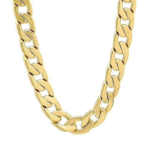 11.5mm 14k Gold Plated Beveled Cuban Link Curb Chain Necklace, 30'' + Microfiber Jewelry Polishing Cloth by The Bling Factory
