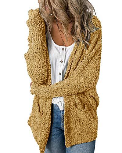 Imily Bela Womens Fuzzy Chunky Cardigan Popcorn Oversized Sherpa Slouchy Open Sweater Coat Yellow