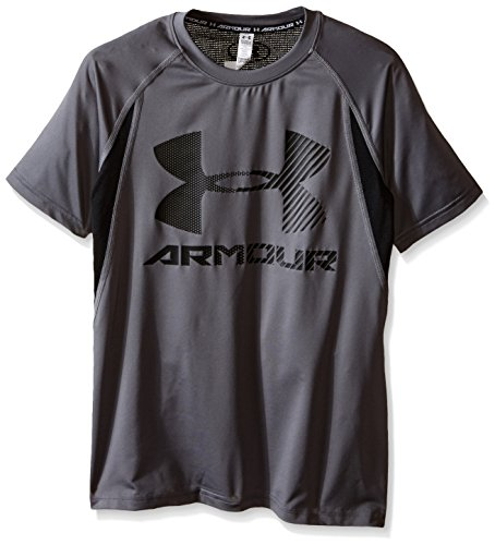 Under Armour Boys' HeatGear Digi Fitted Short Sleeve Shirt, Graphite/Black, Youth Small