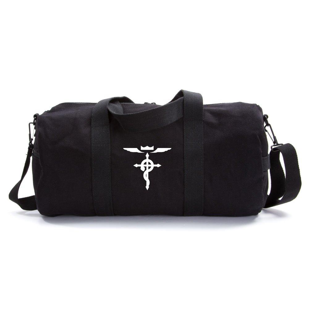 Full Metal Alchemist Flamel Cross Army Sport Heavyweight Canvas Duffel Bag on Black & White, Medium