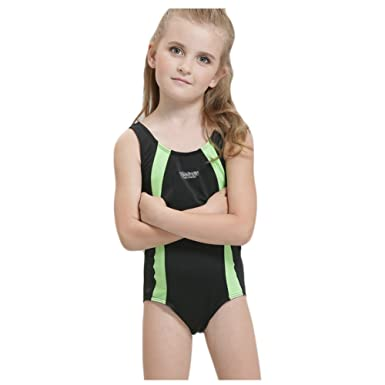 5e134d3b83e99 BYLIKE-SWIM Children One-Piece Splice Competitive Swimsuits Girls Swimwear  Wetsuits (104(
