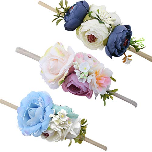 Baby Girl Floral Headbands Set - 3pcs Flower Crown Newborn Toddler Hair Accessories by -